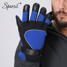Sparsil Men Winter Windproof Anti-Slip Gloves Reflective Strip Leather Patchwork Luvas Coldproof Fleece warm Golve Moto Mittens