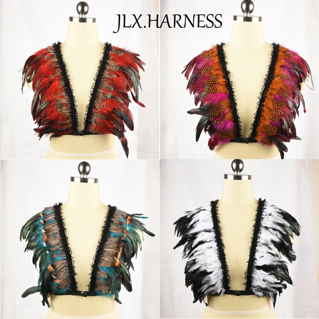 Sujetador colorido de plumas multicolores plumas body cage arnés de pecho abierto crop top lingerie bdsm bondage cuerpo o0300