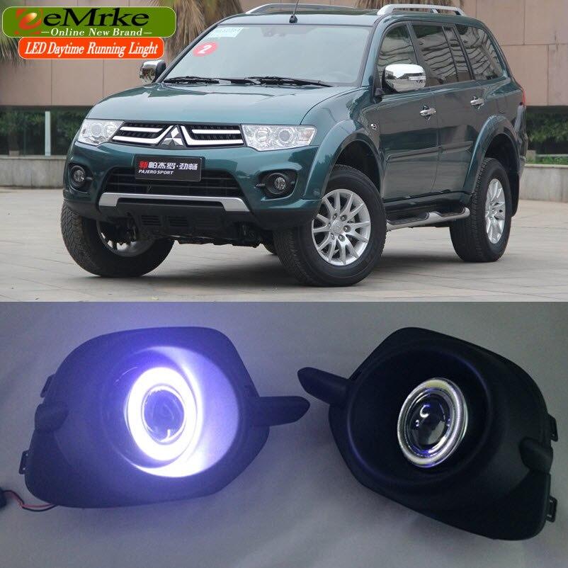 EeMrke Feux Diurnes à LED Pour Mitsubishi Pajero Sport LED Angel Eye Brouillard Lumière Exacte-Fit Brouillard Pare-chocs avec projecteur Lentille