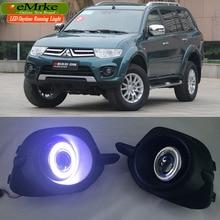 eeMrke LED Daytime Running Lights For Mitsubishi Pajero Sport LED Angel Eye Fog Light Exact-Fit Fog Bumper with Projector Lens