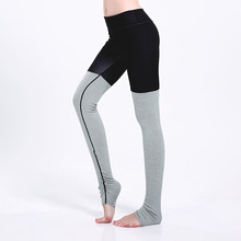 Women Casual Workout Leggings Black Polyester Gray Cotton Patchwork Step Foot Fitness Legging Elastic Waist Sporting