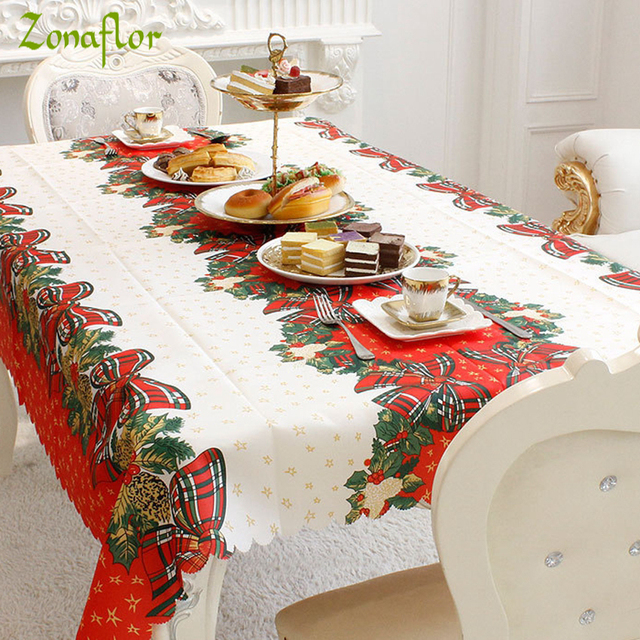 Zonaflor Christmas Home Kitchen Dining Table Decorations Tablecloth Rectangular Party Covers New Year Ornaments