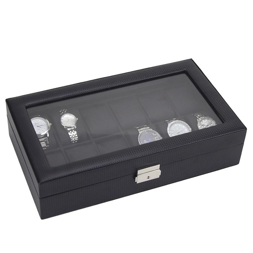 12 Watch Display Leather Case Top Glass Jewelry Organizesr Storage Boxes Men NOV30