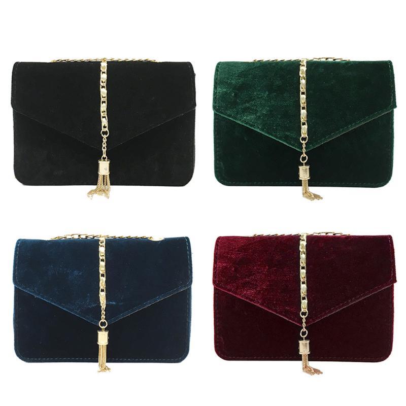 2018Classic Women Fashion Tassel Velvet Crossbody Bag Female Elegant Luxury Handbags Women Bags Designer Chain Bolsa Feminina