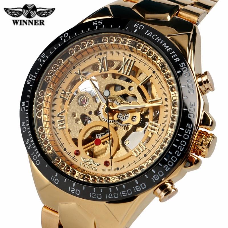 все цены на T-WINNER Self-Wind Mechanical Watch Men Gold/Black Skeleton Dial Modern Automatic Watches Roman Numbers Dress Men Clock 2017 New онлайн