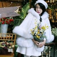 [Aigyptos MX] Оригинальный Дизайн зима Для женщин Элегантный Симпатичные Белый шерстяное лиса Мех животных плащ комплект средней длинная Верхня
