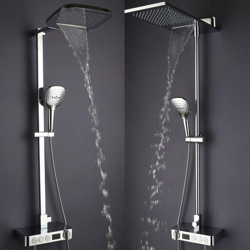 Ванная комната Дождь душ термостат кран смесителя хромированная латунь водопад ванной Насадки для душа цифровой Душ Панель Системы