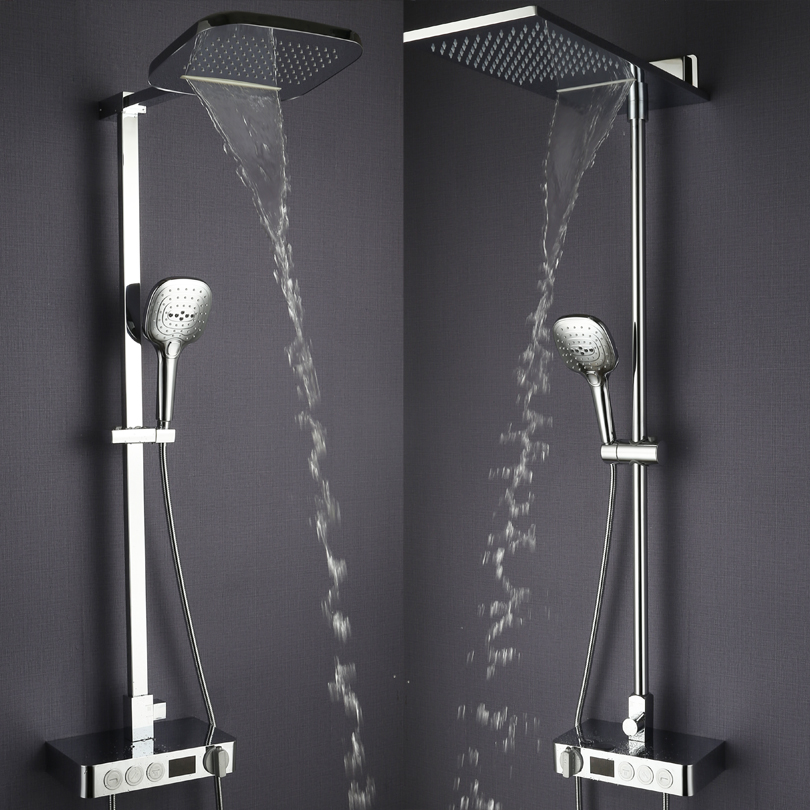 Bathroom Rain Shower Set Thermostat Faucet Mixer Tap Chrome Brass Waterfall Bath Shower Head Digital Shower Panel System bathroom shower faucet chrome or brushed led rain shower system set embedded box thermostat mixer valve control shower head way