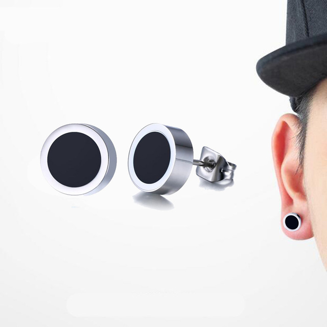 Men Earrings Stainless Steel Black Blue White Stud Earrings of Round Tunnel Plug Post 8mm Unisex Jewelry Pendientes Brincos