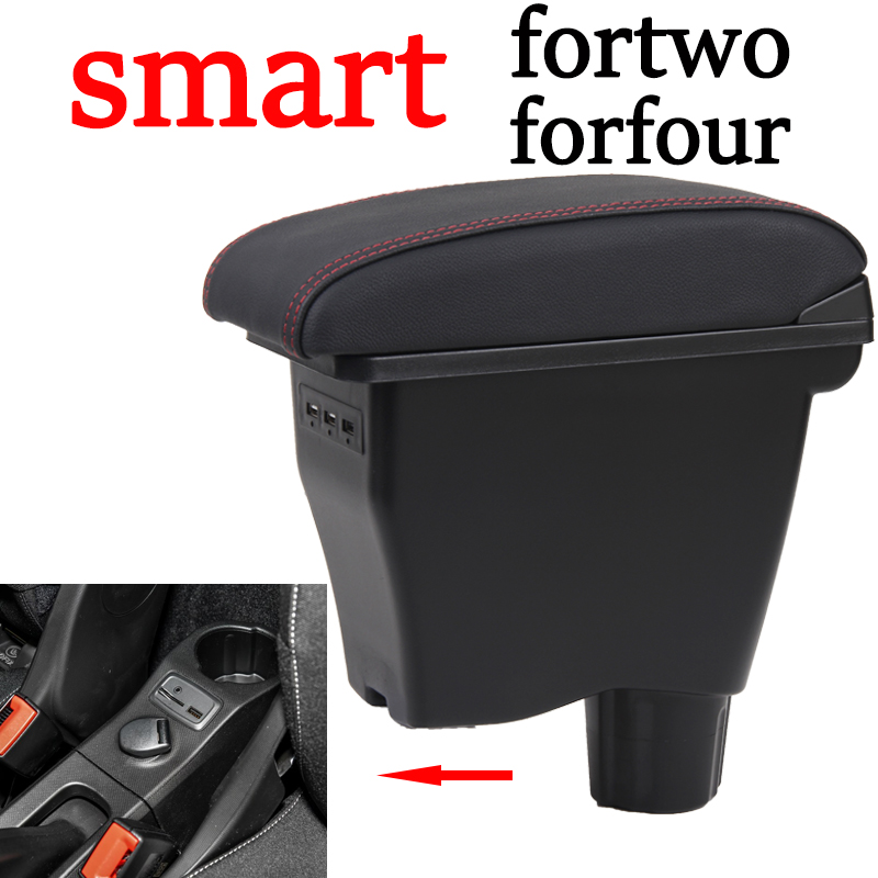 for smart fortwo armrest box universal car center console smart forfour caja modification double raised with