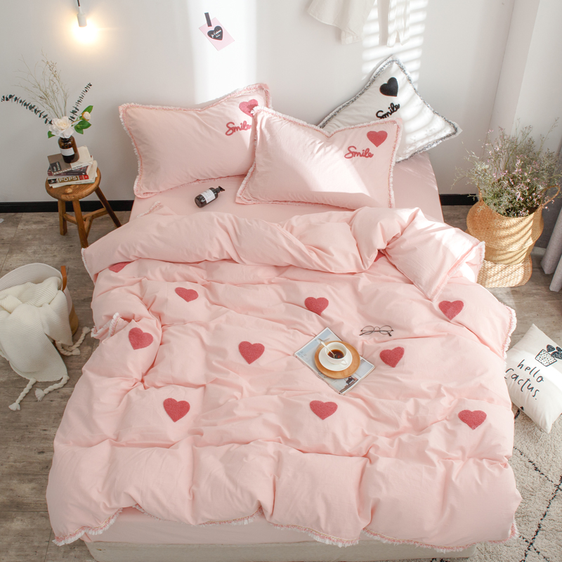 Embroidery White Pink Queen king size Bedding Set 100%Cotton Rubber Fitted sheet Duvet Cover Bedlinen Bed sheet set ropa de cama