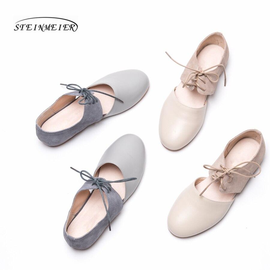 Ayakk.'ten Kadın Topuksuz Ayakkabı'de Kadın kare ayak düz loafer'lar ayakkabı el yapımı gri bej vintage Retro deri rahat toka rahat mokasen oxford ayakkabı'da  Grup 3