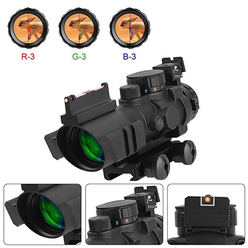 все цены на 4X32 ACOG Optic Scope Riflescope Reticle Fiber Red Green Blue Illuminated Optic Sight With Red Dot Sight 20mm Rail For Hunting онлайн