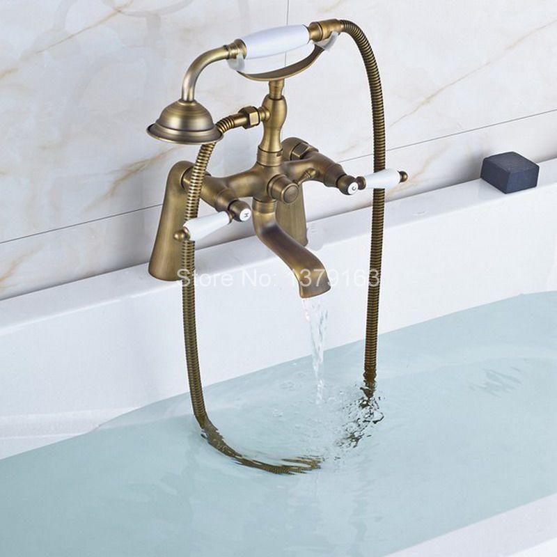 Retro Antique Brass Double Ceramic Handles Deck Mounted Bathroom Clawfoot Bathtub Tub Faucet Mixer Tap w/Hand Shower aan021 antique brass 8 rain shower faucet set double corss handles tub mixer hand unit