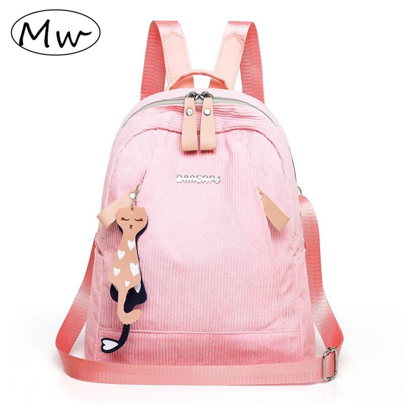 Cat pendant corduroy backpack With headphone jack casual solid color lightweight backpack students school bag travel backpack