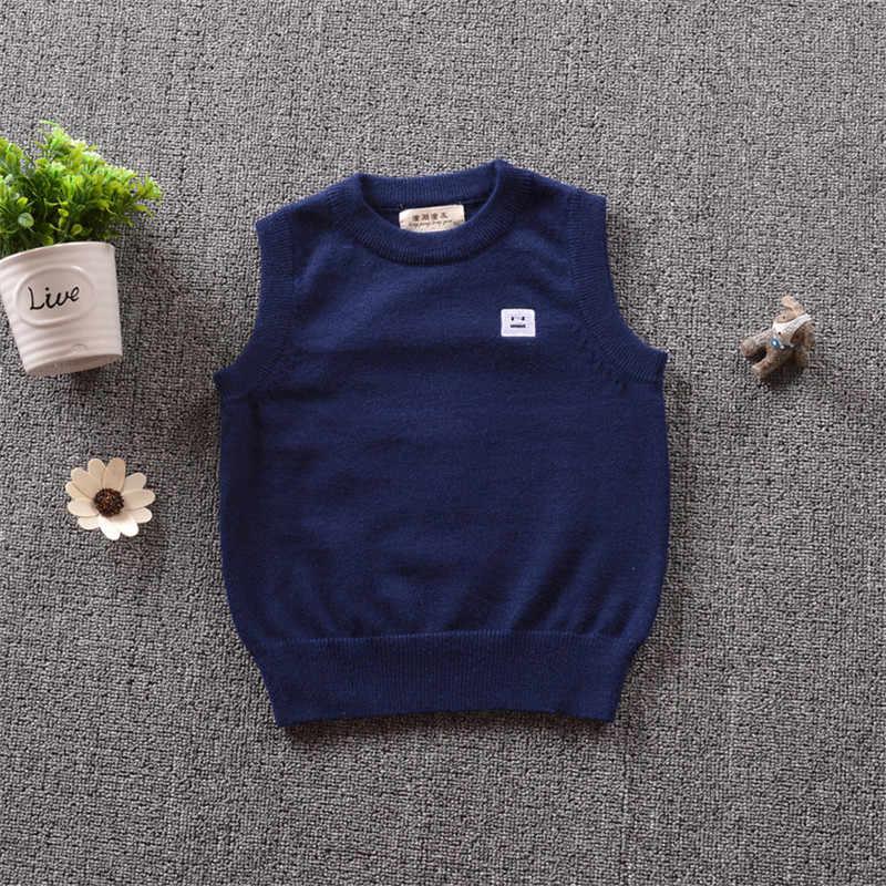 Funfeliz/свитер для мальчиков осенне-зимний детский свитер без рукавов для мальчиков, белый, синий, серый пуловер, жилет кардиган для маленьких мальчиков