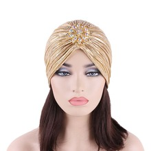 New Fashion Ladies Gold Silver Diamond Jewel Turban Hats For Women Chemo Bandana Hijab Pleated Indian Cap Turbante Hat