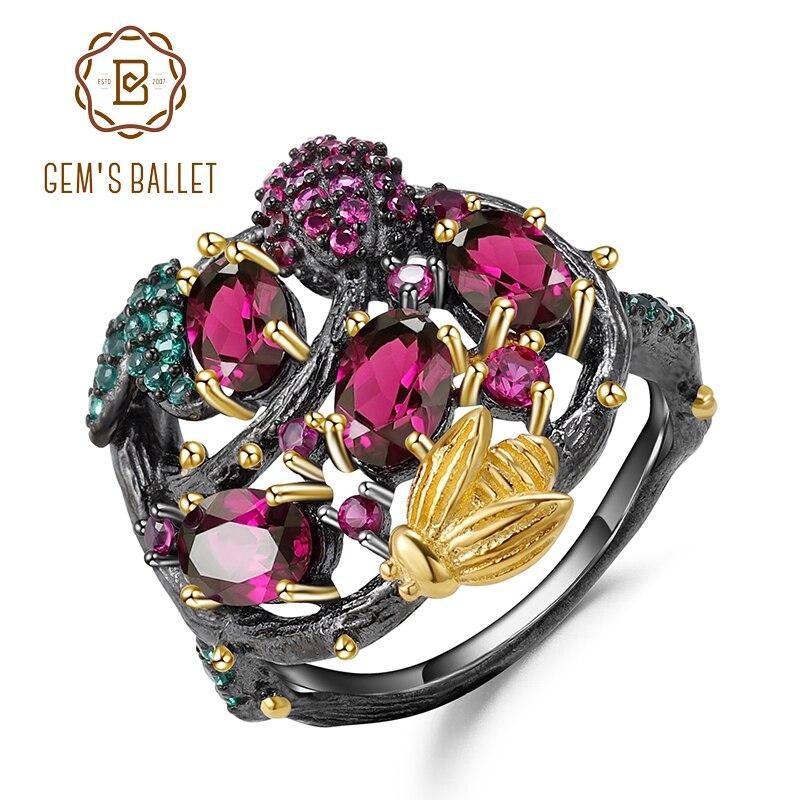 GEM'S BALLET Natural Rhodolite Garnet Gemstone Ring 925 Sterling Silver Handmade Gold Bee On Branch Rings For Women Fine Jewelry