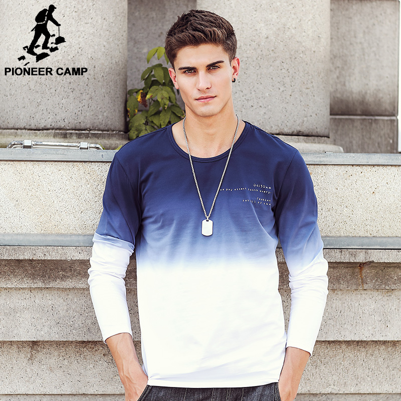Pioneer Camp 2018 New Arrive Mens T Shirts Fashion O-Neck casual Long Sleeve T-Shirt Gradient band Clothing Shirt Homme 611907