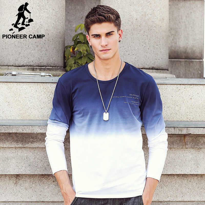 Pioneer Camp ใหม่มาถึงบุรุษเสื้อ T แฟชั่น O-Neck Casual เสื้อยืดแขนยาว Gradient band เสื้อผ้า T เสื้อ Homme 611907