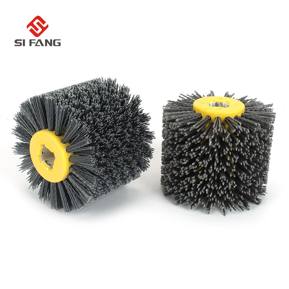 Deburring Abrasive Wire Drawing Round Brush Head Polishing Grinding Buffer Wheel Nylon Burnishing Wheel Brush  For Wood Working