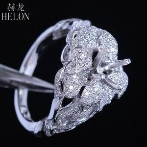 Image 5 - Helonリアル925スターリングシルバーラウンドカット5ミリメートルセミマウントパヴェ100%天然0.7ctダイヤモンド女性トレンディ花ファインジュエリーリング