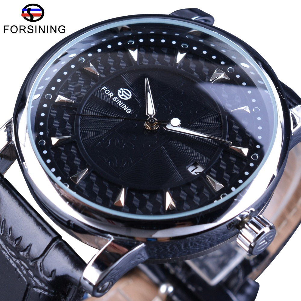 Forsining Fashion Business Series Calendar Display Concealed Design Clock Men Automatic Wrist Watch Top Brand Luxury Male Clock fashion fngeen brand simple gridding texture dial automatic mechanical men business wrist watch calender display clock 6608g