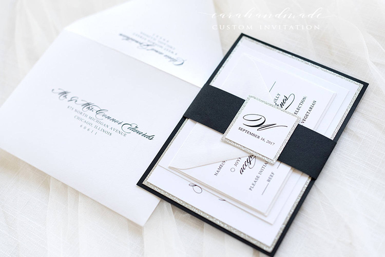 Us 230 0 Black White Silver Glitter Wedding Invitation And Rsvp Card Suite Elegant Glam Formal The Soliloquy Ca0956 In Cards Invitations