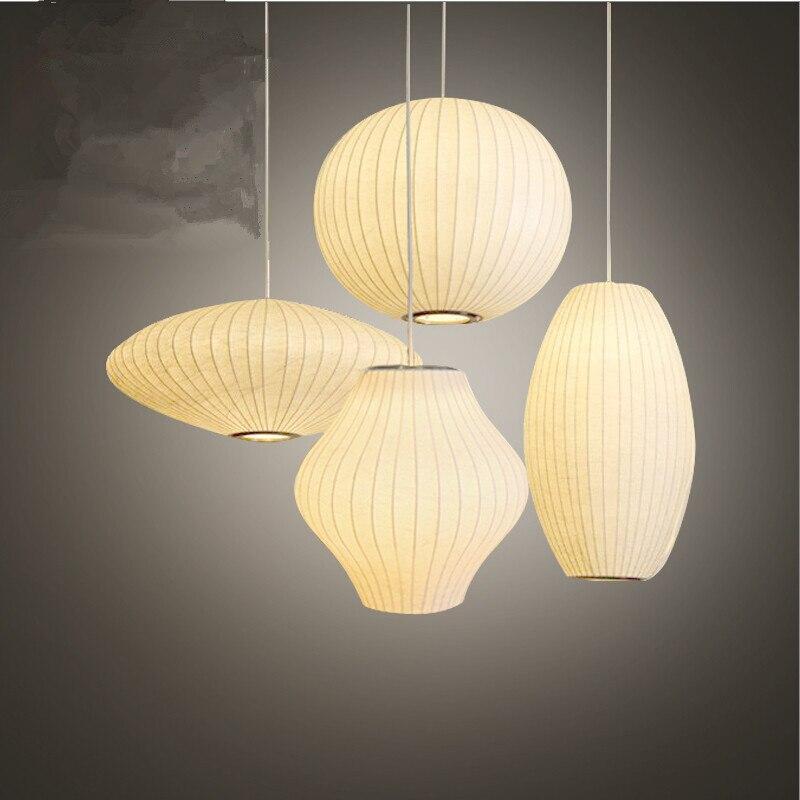 Bulle soucoupe lampe blanc soie tissu pendentif lumière salle à manger vêtements boutique tissu Restaurant pendentif lampe suspendue