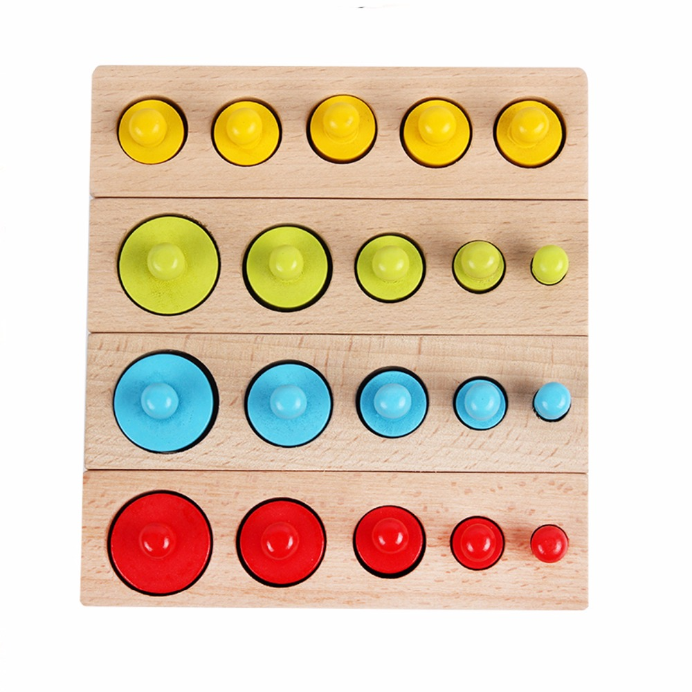 Montessori Wooden Cylinder Socket Kids Early Development Material Preschool Teaching Aids Color and Shape Match Games