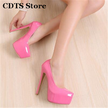 CDTS Plus:35-44 Hot sale zapatos mujer Brand 15cm thin heels Patent leather platform wedding shoes woman sexy Crossdresser pumps