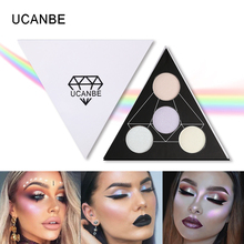 UCANBE Brand Triangle Highlighter Powder Makeup Palette Prism Glow Kit Shimmer Face Brighten Highlighting Bronzing Eyeshadow