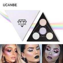 UCANBE Brand Triangle Highlighter Powder Makeup Palette Prism Glow Kit Shimmer Face Brighten Highlighting Bronzing Eyeshadow Set