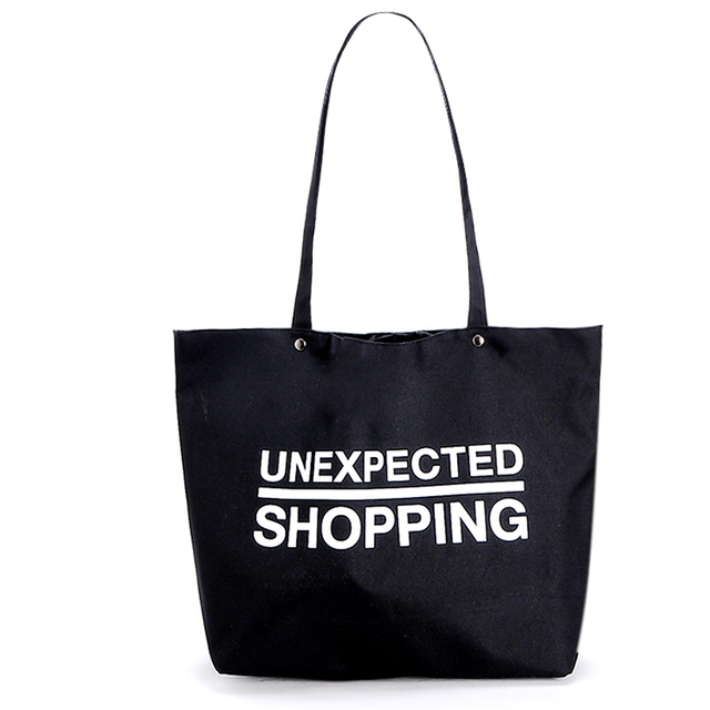 Free Shipping Oxford Shopping Bags Black with Lettlers Large Women Handbags Shoulder Bags Shopping Bag SGJM040