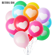 BTRUDI Heart-shaped printed Candy color balloon  30pcs/lot 12inch birthday party decorations kids helium wedding
