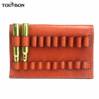 Tourbon Hunting Gun Accessories Rifle Cartridges Holder Fit for Caliber .375.300 Genuine Leather Ammo Carrier Bullet Pouch