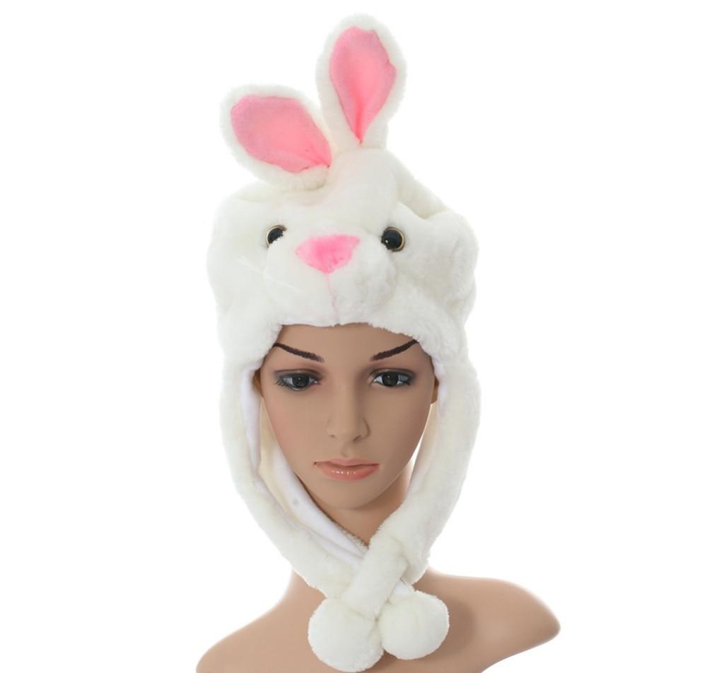 DOUBCHOW Cute Plush Earflap White Rabbit Bunny Animal Hats for Adults Womens Teenagers Kids Boys Girls Winter Warm Beanie Cap