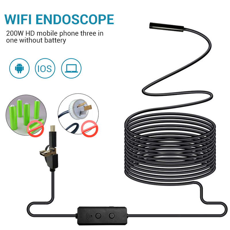 1m/2m/3m/5m WIFI 8mm Endoscope Camera Waterproof Soft Cable 2MP Pixels 12MP Image Resolution Adjustable For Smartphone