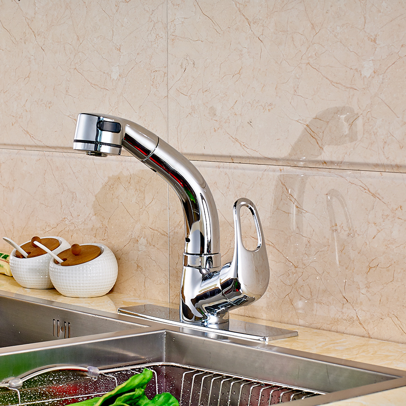цена на Chrome Polished Kitchen Sink Faucet Single Handle Mixer Tap with Cover Plate Deck Mounted