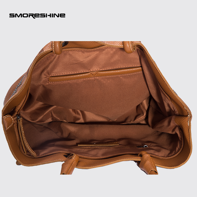 84f446bf8481 Exclusive Women s Soft Leather Handbags Female Rivet Design Shoulder bag  Ladies Cross Pattern Bag Big Casual tote Bolsa Feminina-in Shoulder Bags  from ...