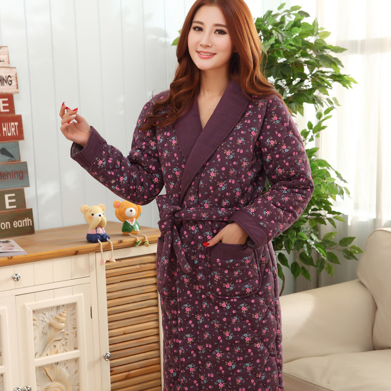 Female robe three layer thickening warm winter womens bathrobe female robe three layer thickening warm winter womens bathrobe sleep tops flower pijamas mujer dressing gowns for women xxxl in robes from womens clothing sciox Image collections