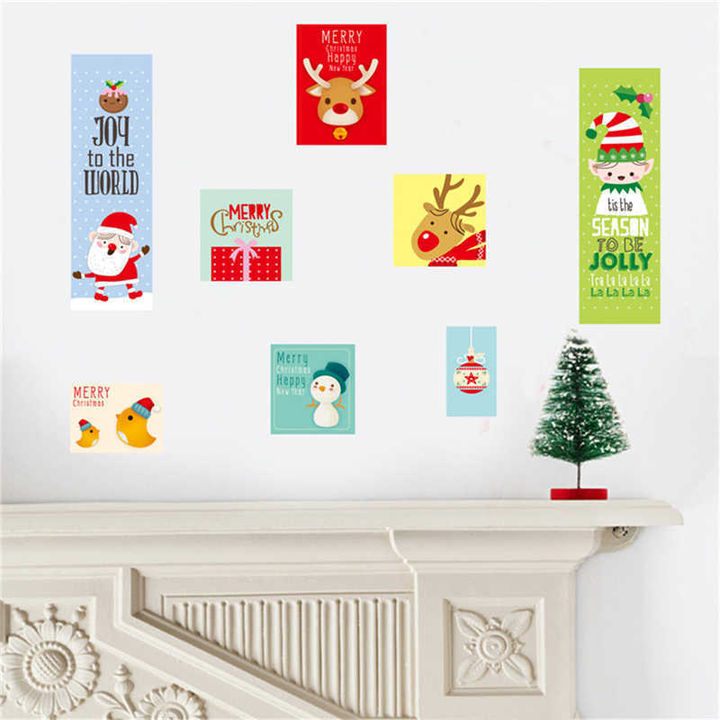 Image 3 - Cartoon Santa Claus Wall Stickers Wall Art Removable Home Decal Party Decor Merry Christmas Window Film Stickers-in Wall Stickers from Home & Garden