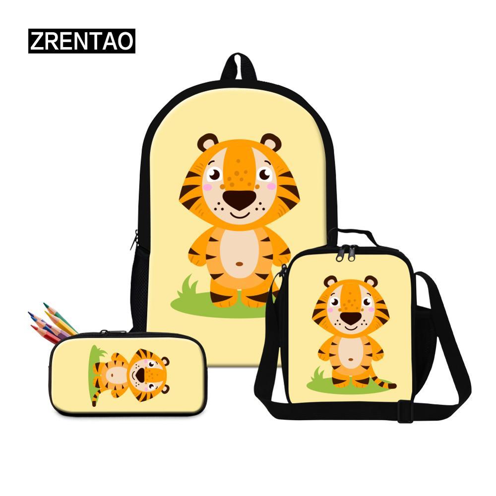 Dessin animé mignon tigre/Lion/renard/licorne/cheval enfants école sac à dos ensembles 3 pièces cartable sac à dos cartable pour adolescents garçons filles enfant