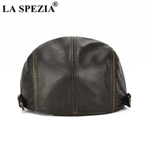 Image 4 - LA SPEZIA Autumn Winter Flat Caps For Men Brown Adjustable Duckbill Hats Male Real Cowhide Leather Classic High End Driving Caps