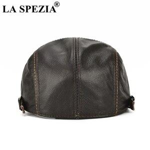 Image 4 - LA SPEZIA סתיו חורף כובעים שטוחים גברים חום מתכוונן מקור ברווז כובעי זכר אמיתי עור פרה עור קלאסית high end נהיגה Caps