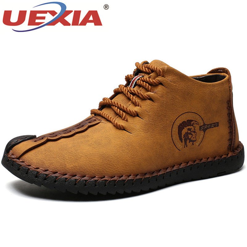 UEXIA Boots For Outdoor Men's Sneakers Male Cow Leather Casual Shoes Adult Plush Ankle Boots Party&Wedding Casual Flats Male