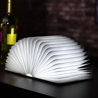 USB Rechargeable LED Foldable Book Shape Desk Lamp Night Light 4Color Leather book light Home Decor Light Drop Shipping Kid Gi|LED Night Lights| |  -