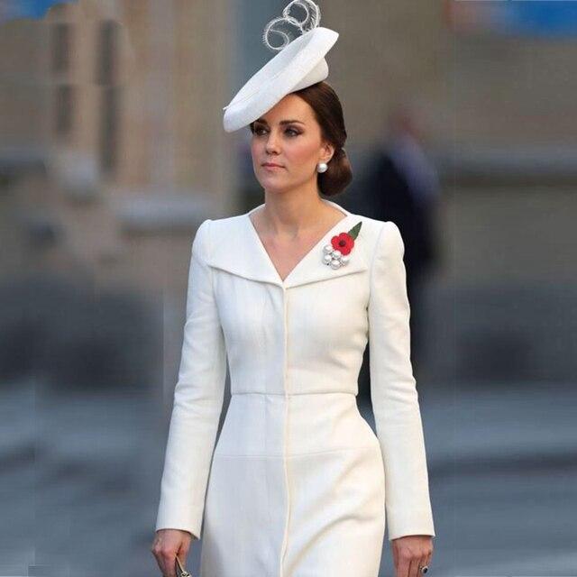 2019 Весна Кейт Миддлтон принцессы белое платье с отложным воротником платья трапециевидной формы