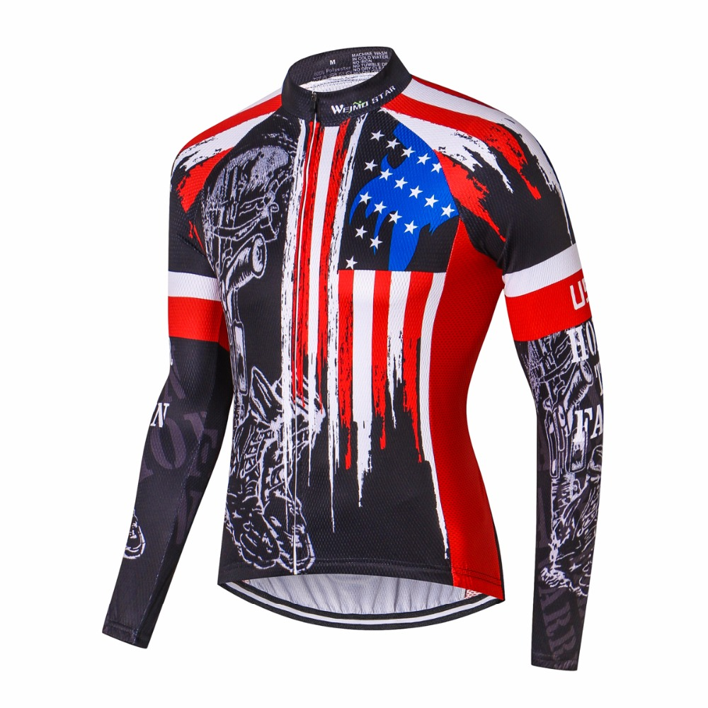 Weimostar Bike jersey Long Men Cycling clothing Clothes Male MTB Ropa Ciclismo Maillot Long Sleeve Shirts Riding blouse Red USA