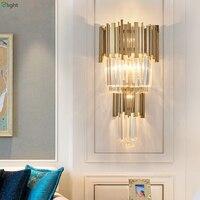 Lustre de Cristal moderna Levou Parede Lâmpada Quarto Luzes de Parede de Led Luminárias Sala de Jantar do Metal do Ouro Levou Parede de Luz Sala de estar arandela